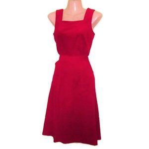 1970s vintage red corduroy jumper dress size xs